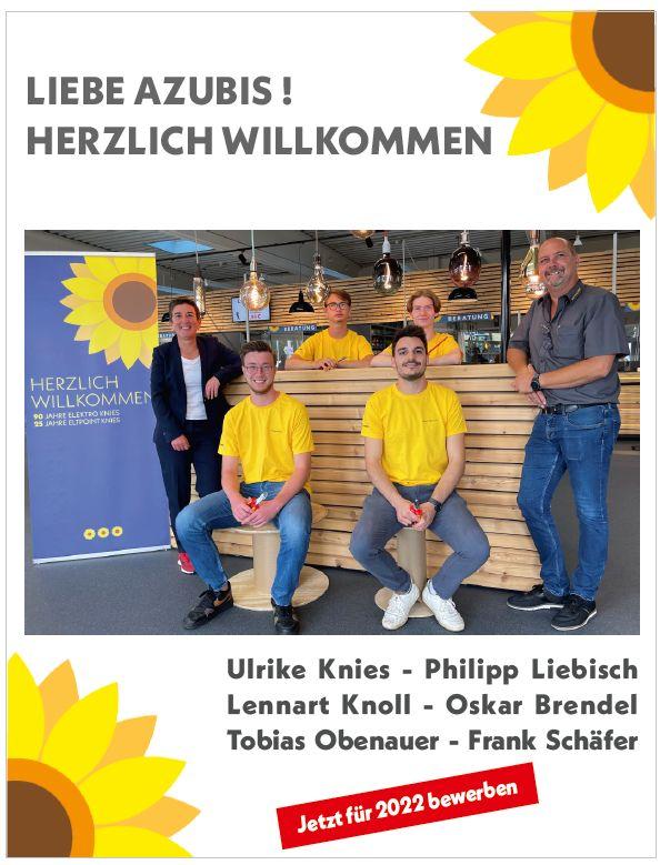 Azubis 2021 bei Elektro Knies - Philipp Liebisch - Lennart Knoll - Oskar Brendel - Tobias Obenauer